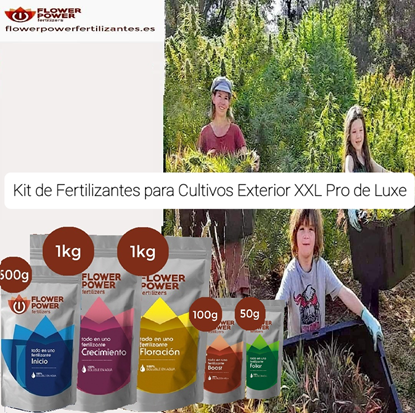 Picture of Flower Power Fertilizer Kit for Outdoor Gardens XXL Pro de Luxe Basic Line 500 gr Start / 1000 gr Creciemento / 1000 gr Bloom / 100 gr Boost / 50 gr Foliar