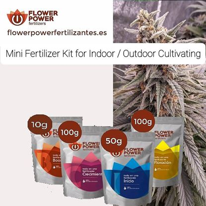 Picture of Flower Power Fertilizer Kit Mini Basic Line for Indoor and outdoor Gardens                        50 gr Start/ 100 gr Grow / 100 gr Bloom / 10 gr Boost